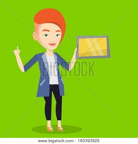 Student using a tablet computer for education. Caucasian student holding tablet computer and pointing forefinger up. Concept of educational technology. Vector flat design illustration. Square layout.