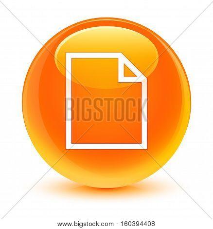 Blank Page Icon Glassy Orange Round Button