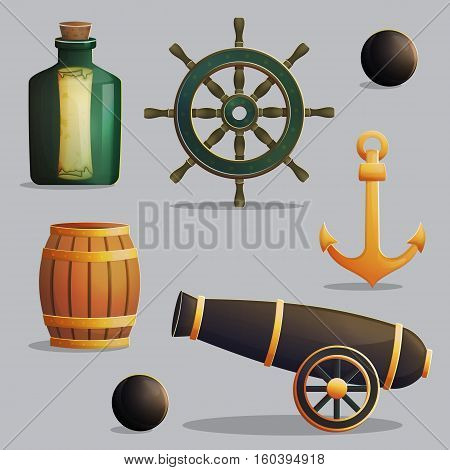Collection of pirate items for marine journey navigation and treasure hunting. Accessories for treasure hunting trip, vessel parts, gunpowder barrel, cannon. Game and app ui icons.