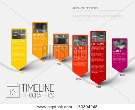 colorful Infographic typographic timeline report template with the biggest milestones, photos, years and description