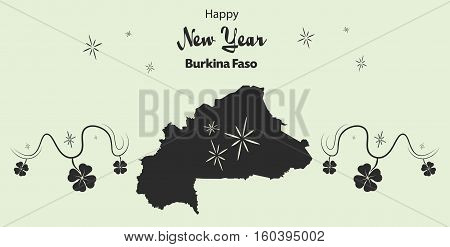 Happy New Year Illustration Theme With Map Of Burkina Faso