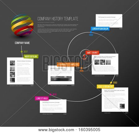 Vector Company infographic overview design template with colorful labels and white blocks on a time spiral - dark version