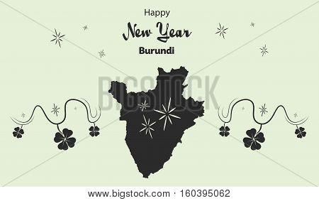 Happy New Year Illustration Theme With Map Of Burundi