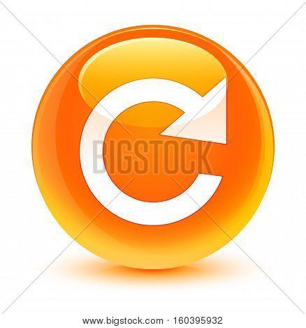 Reply Rotate Icon Glassy Orange Round Button