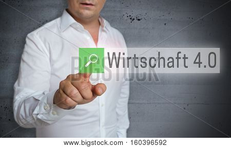 Wirtschaft 4.0 (in German Business 4.0) Browser Is Operated By Man