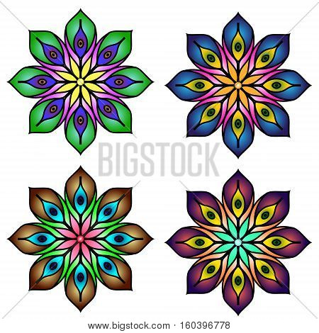 Colored mandala peacock feather four mandalas set