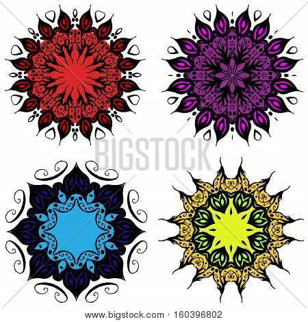Colored mandala four mandalas set with red purple blue and yellow colors