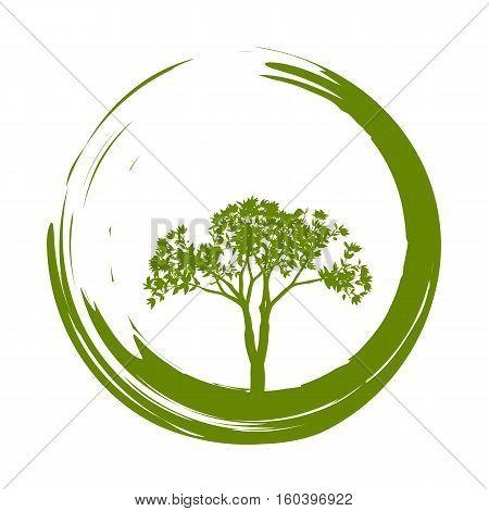 Vector Tree and Enso (Zen Circle) Illustration