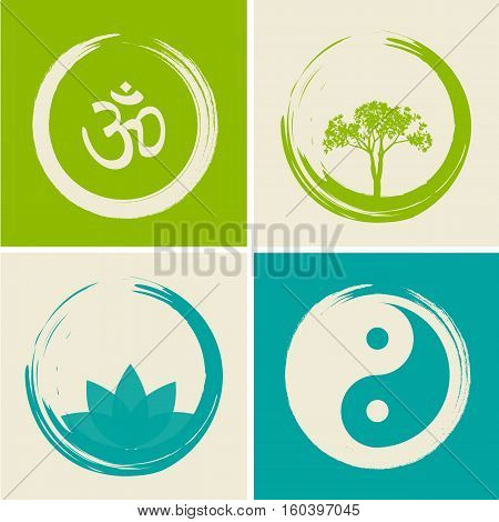 Vector Spiritual Logos Set Illustration (with Hindu Word Om)