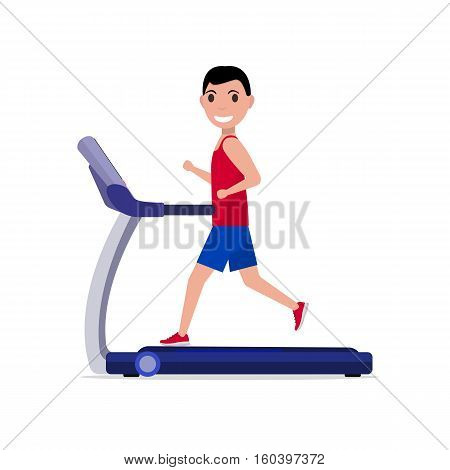 Vector illustration cute cartoon boy running on a treadmill. Sporty young man on a training apparatus running track. Isolated on white background. Flat style. Side view, profile. Guy on the simulator.