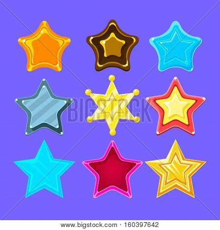 Five-Point Colorful Cartoon Star Collection For Flash Video Game Rewards , Bonuses And Stickers. Bright Color Glossy Pentagram Shapes Isolated Vector Icons.