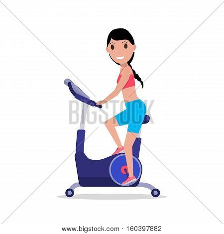 Vector illustration cartoon woman on a exercise bike. Isolated on white background. Flat style. Side view, profile. Girl on Bicycle Simulator. Training apparatus for legs. Female on Stationary bike.