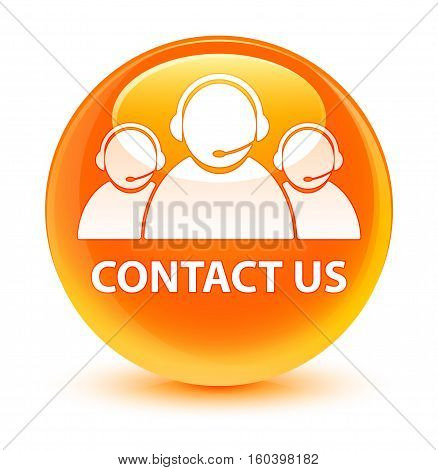 Contact Us (customer Care Team Icon) Glassy Orange Round Button
