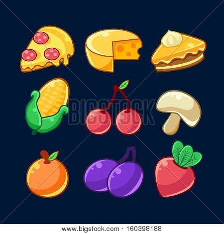 Food Items Outlined Childish Stickers Set For Flash Game Design Including Fruits , Berries And Pizza. Eatable Isolated Elements Of Farming Game Of Children Cartoon Vector Illustration. poster