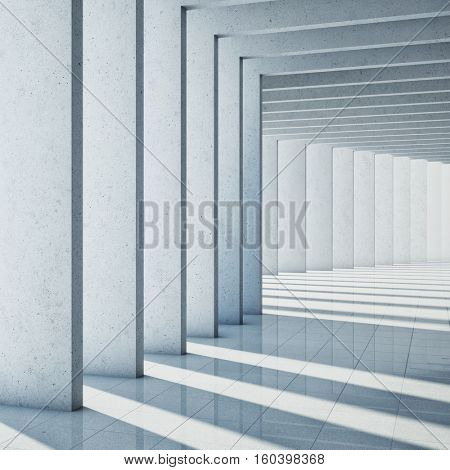 Architectural design of modern concrete hall. 3D illustration.