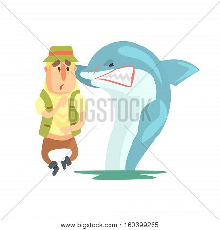 Scared Amateur Fisherman In Khaki Clothes Meeting A Shark Cartoon Vector Character And His Hobby Illustration. Man On His Leisure Outdoors Fishing Trip Wearing Typical Outfit Vector Funny Drawing.