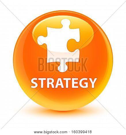 Strategy (puzzle Icon) Glassy Orange Round Button