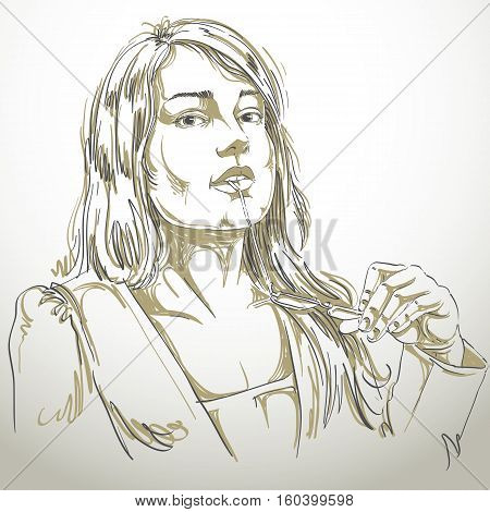 Vector Portrait Of Attractive Woman Holding Her Eyeglasses And Thinking About Something, Illustratio