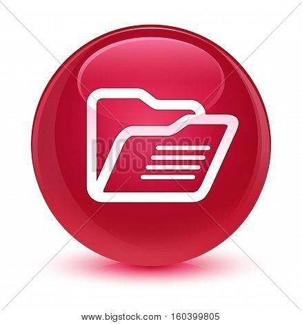 Folder Icon Glassy Pink Round Button