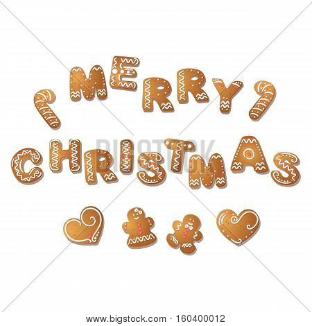 Gingerbread inscription Merry Christmas. Gingerbread man, hearts. Christmas cookies. Vector illustration EPS10