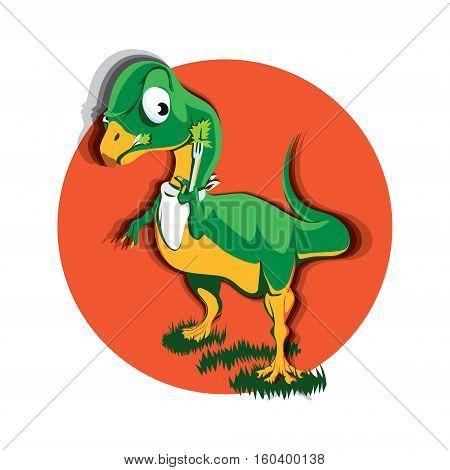 Cartoon Vegan Herbivorous Jurassic Picky Fussy Reptile Dinosaur Chilesaurus