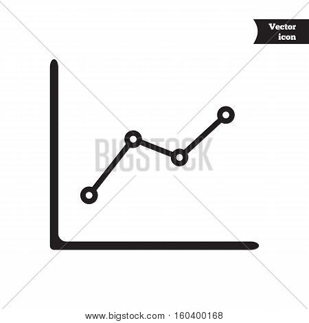Business vector progress chart. Growth diagram. Black and white image