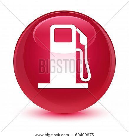 Fuel Dispenser Icon Glassy Pink Round Button