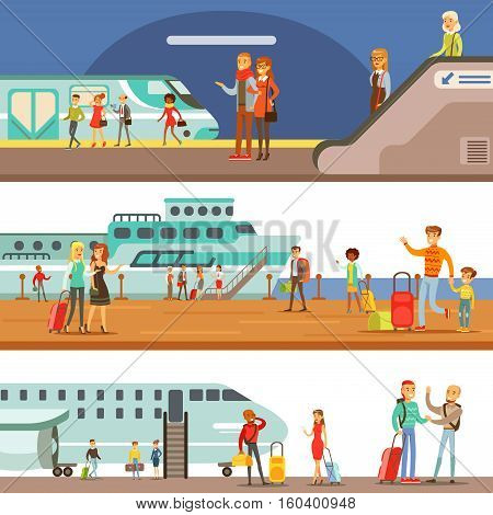 Smiling People Boarding Different Transport, Metro, Plane And Ship Set Of Cartoon Scenes With Happy Travelers. Men And Women Travelling With Public Transportation Collection Of Vector Illustrations.