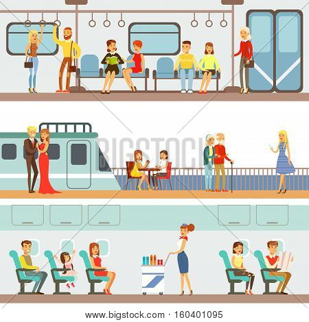 Smiling People Taking Different Transport, Metro, Plane And Ship Set Of Cartoon Scenes With Happy Travelers. Men And Women Travelling With Public Transportation Collection Of Vector Illustrations.