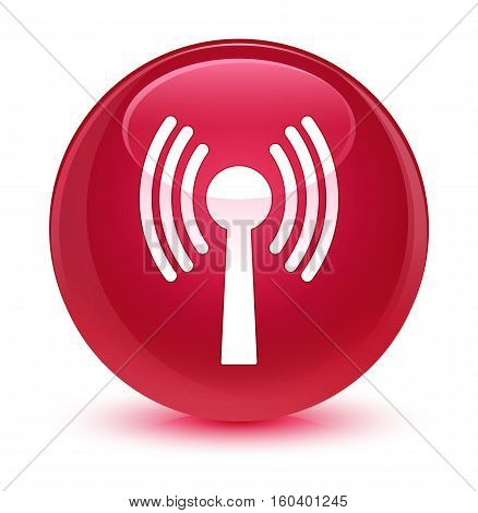 Wlan Network Icon Glassy Pink Round Button