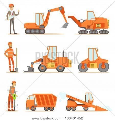 Smiling Road Construction And Repair Workers In Uniform And Heavy Trucks At Construction Site Set Of Cartoon Illustrations. Manual Laborers Working Outdoor In Road Building And Fixing Collection Of Drawings.