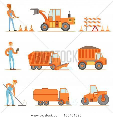 Happy Road Construction And Repair Workers In Uniform And Heavy Trucks At Construction Site Set Of Cartoon Illustrations. Manual Laborers Working Outdoor In Road Building And Fixing Collection Of Drawings.