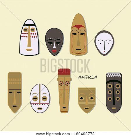 African Mask Icons. Flat Style. Set of African Ethnic Tribal Masks on White Background.