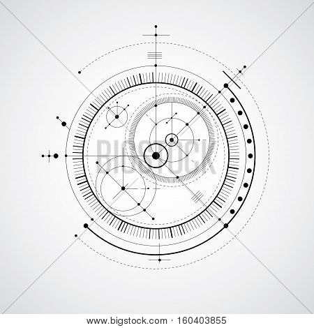 Mechanical Scheme, Black And White Vector Engineering Drawing With Circles And Geometric Parts Of Me