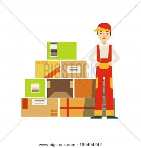 Paper Box Packages Piled Up In Warehouse With A Delivery Company Worker Standing Next In Red Dungarees Uniform. Part Of Storehouse And Logistic Service Depository Collection Of Vector Illustrations.