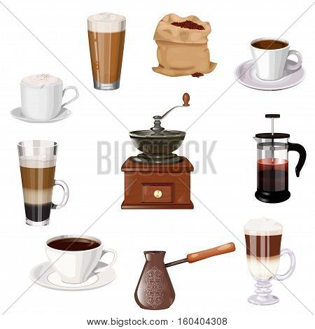 Coffee theme vector set. Cup of coffee, latte, espresso, cappuccino, coffee mill, coffee pot, bag of beans