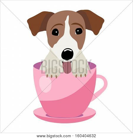 Jack Russell Terrier in pink teacup, illustration, set for baby fashion.