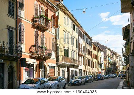 Street In Living Quarter Of Verona City