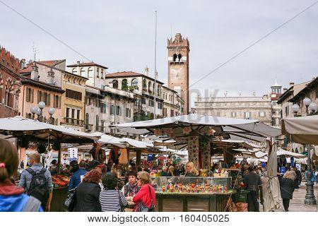 Verona City Market On Piazza Delle Erbe