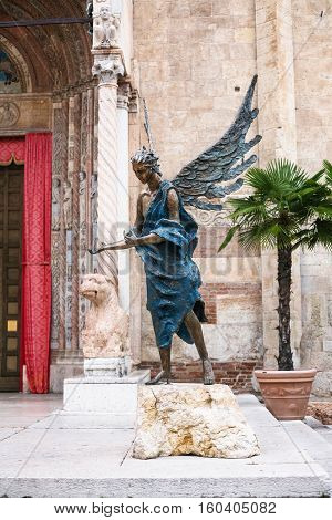 Angel Statue Near Entrance Of Verona Cathedral
