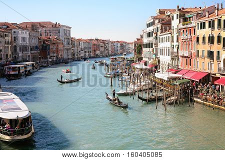Boats In Grand Canal In Venice City