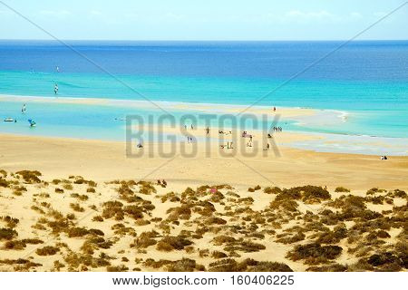 View on the beach Playa de Sotavento with unknown people and windsurfers on the Canary Island Fuerteventura Spain.