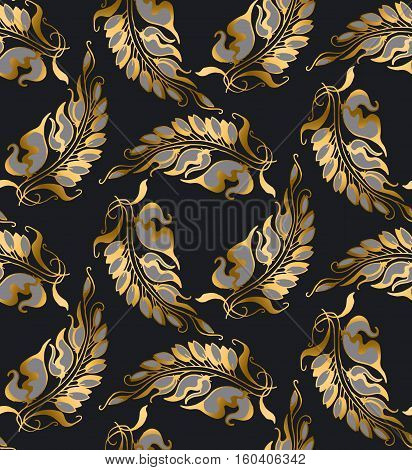 gold Art Nouveau style vector pattern illustration poster