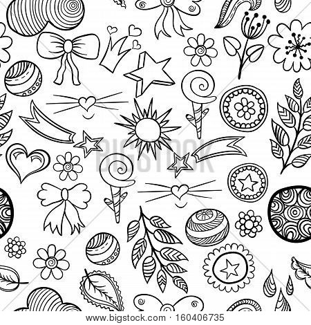 Vector seamless pattern of fashionable patches elements like heart, flower, drop, leaf, star sun. Vector black white hand drawn cute and funny stikers kit. Modern doodle pop art sketch badges and pins