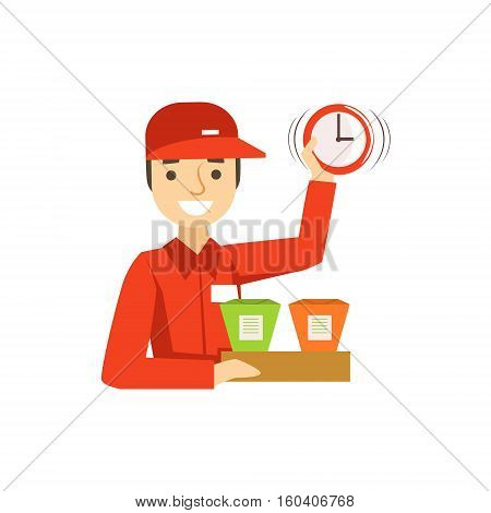 Delivery Service Worker In Red Uniform Holding Packed Wok Noodles And Clock Ready To Ship The Order. Cartoon Vector Illustration From The Collection Of Asian Food Takeout Company Process Of Office And Home Food Delivery.