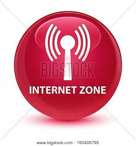 Internet Zone (wlan Network) Glassy Pink Round Button