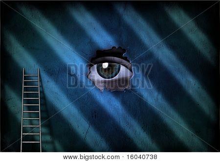 Eye peers through hole in wall