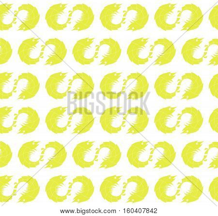Seamless Yellow Shrimp Pattern