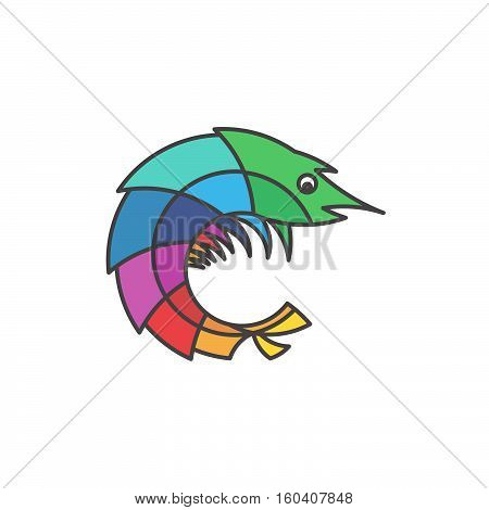 Mantis Shrimp Ocean Animal Stylized Outline Logo