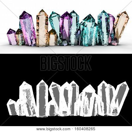 multi-colored crystals on a white background 3d render with an alpha channel